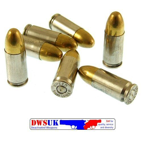 INERT 9mm Para FMJ Round Nickel Case