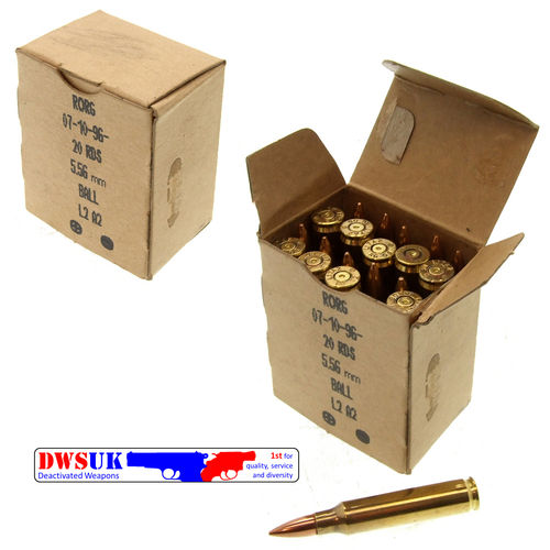 20 x INERT 5.56mm/.223 FMJ Round Boxed